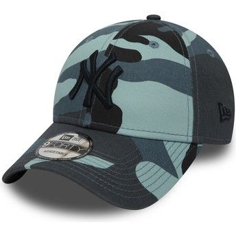New Era Curved Brim Schwarzes Logo 9FORTY Essential de New York Yankees MLB Adjustable Cap camo und blau