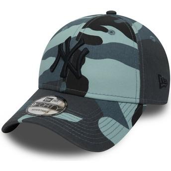 New Era Curved Brim Schwarzes Logo 9FORTY Essential de New York Yankees MLB Adjustable Cap camo und blau