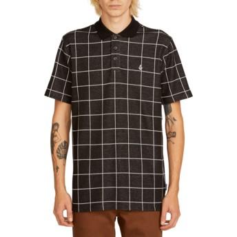 Volcom Black Wowzer Plaid Poloshirt schwarz kariert