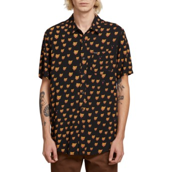 Volcom Black Ozzie Cat Kurzärmliges Shirt schwarz
