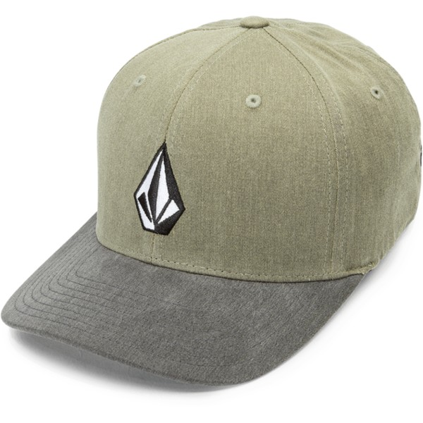 volcom-curved-brim-light-army-full-stone-xfit-fitted-cap-grun-mit-grauem-schirm