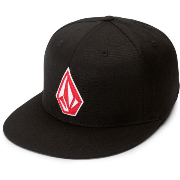 volcom-flat-brim-spark-rot-stone-stack-jfit-fitted-cap-schwarz