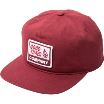 Volcom Flat Brim Burgundy Righteous Snapback Cap rot