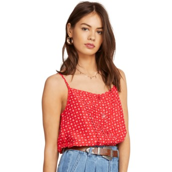 Volcom Red Deep Tracks Tank Blouse rot