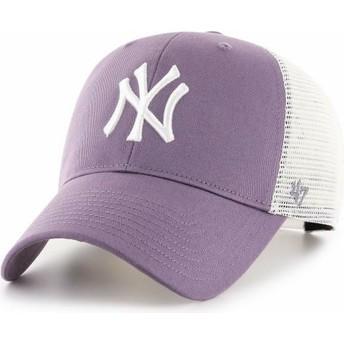 47 Brand MVP Flagship New York Yankees MLB Purple Trucker Cap
