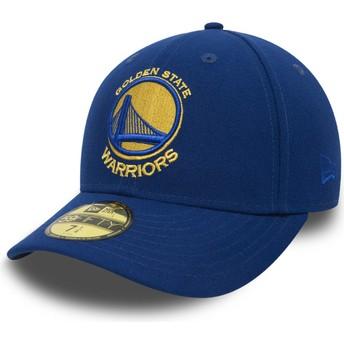 New Era Flat Brim 59FIFTY Low Profile Classic Golden State Warriors NBA Fitted Cap blau