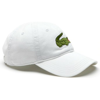 Lacoste Curved Brim Big Croc Gabardine Adjustable Cap weiß