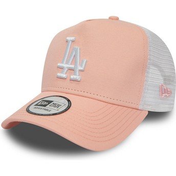 New Era League Essential A Frame Los Angeles Dodgers MLB Trucker Cap pink