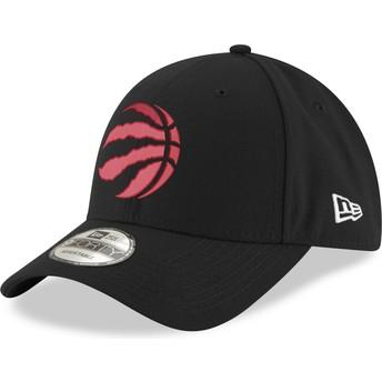 New Era Mit Rotem Logo Curved Brim 9FORTY The League Toronto Raptors NBA Black Adjustable Cap