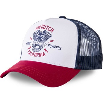 Von Dutch MOTBLU White, Navy Blue and Red Trucker Hat