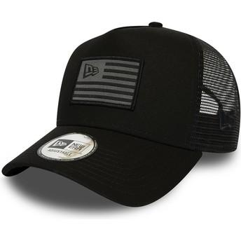 New Era A Frame Flag Black and Grey Trucker Hat