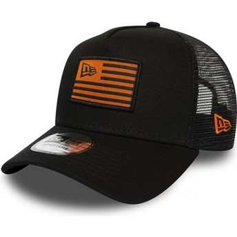 New Era A Frame Flag Black and Orange Trucker Hat