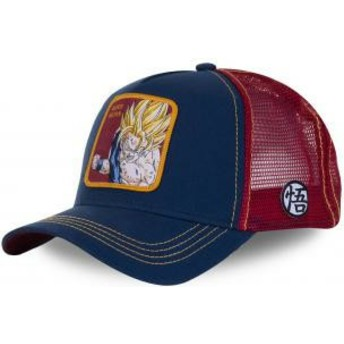 Capslab Son Goku Super Saiyan SAY1 Dragon Ball Navy Blue and Red Trucker Hat