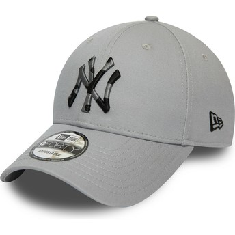 New Era Curved Brim Camouflage Logo 9FORTY Camo Infill New York Yankees MLB Grey Adjustable Cap