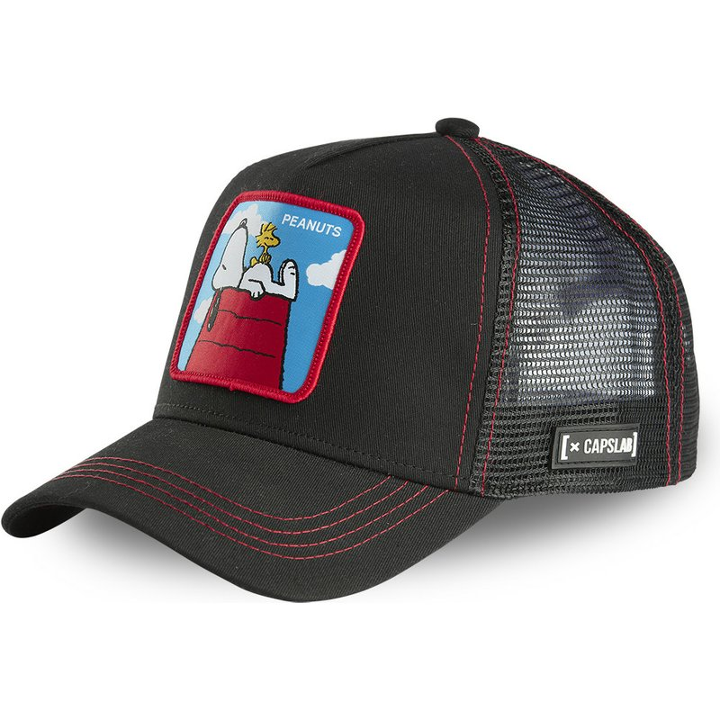 capslab-doghouse-snoopy-and-woodstock-pcl-peanuts-black-trucker-hat