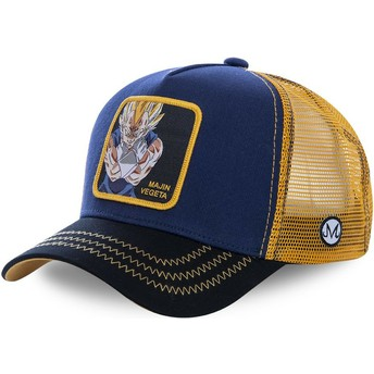 Capslab Youth Majin Vegeta KID_MV1 Dragon Ball Navy Blue and Yellow Trucker Hat