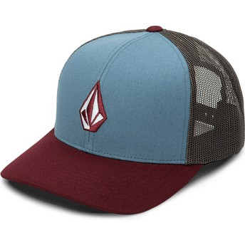 Volcom Stormy Blue Full Stone Cheese Blue, Red and Black Trucker Hat
