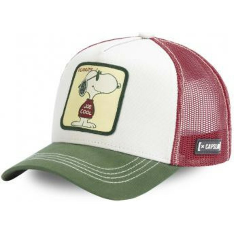 capslab-snoopy-joe-cool-joe-peanuts-white-brown-and-green-trucker-hat