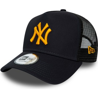 New Era Orange Logo League Essential A Frame New York Yankees MLB Navy Blue Trucker Hat
