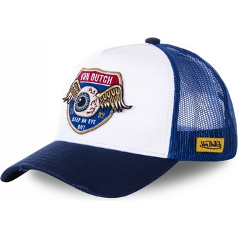Von Dutch HIG1 White and Blue Trucker Hat