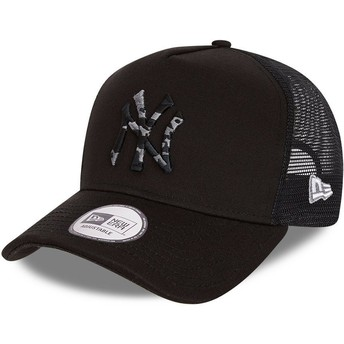 New Era Camouflage Logo InFill A Frame New York Yankees MLB Black and Black Trucker Hat
