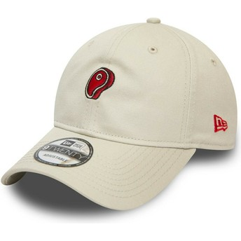 New Era Curved Brim 9TWENTY Food Steak Beige Adjustable Cap