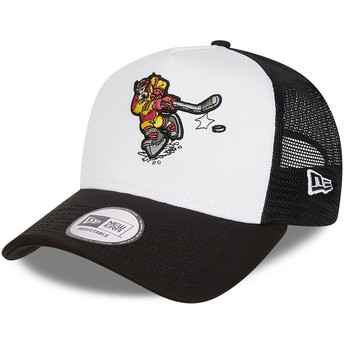 New Era Character Sports A Frame Goofy Ice Hockey Disney White and Black Trucker Hat