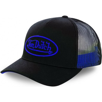 Von Dutch Blue Logo NEO BLU Black Trucker Hat