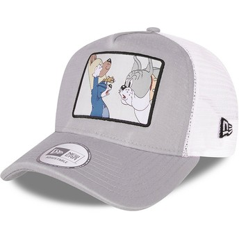 New Era Tom and Jerry A Frame Looney Tunes Grey and White Trucker Hat