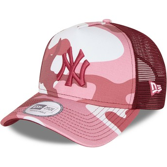 New Era Pink Logo A Frame New York Yankees MLB Camouflage and Pink Trucker Hat