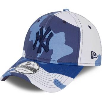New Era Curved Brim Black Logo 9FORTY New York Yankees MLB Camouflage and Blue Adjustable Cap