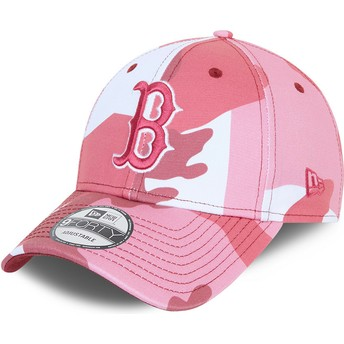 New Era Curved Brim Pink Logo 9FORTY Boston Red Sox MLB Camouflage and Pink Adjustable Cap
