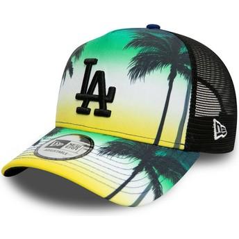 New Era Black Logo A Frame Summer City Los Angeles Dodgers MLB Green Trucker Hat