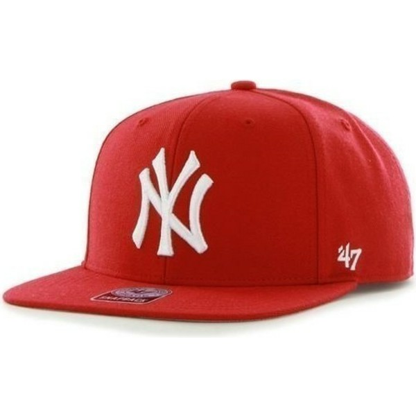 47-brand-flat-brim-new-york-yankees-mlb-sure-shot-snapback-cap-rot