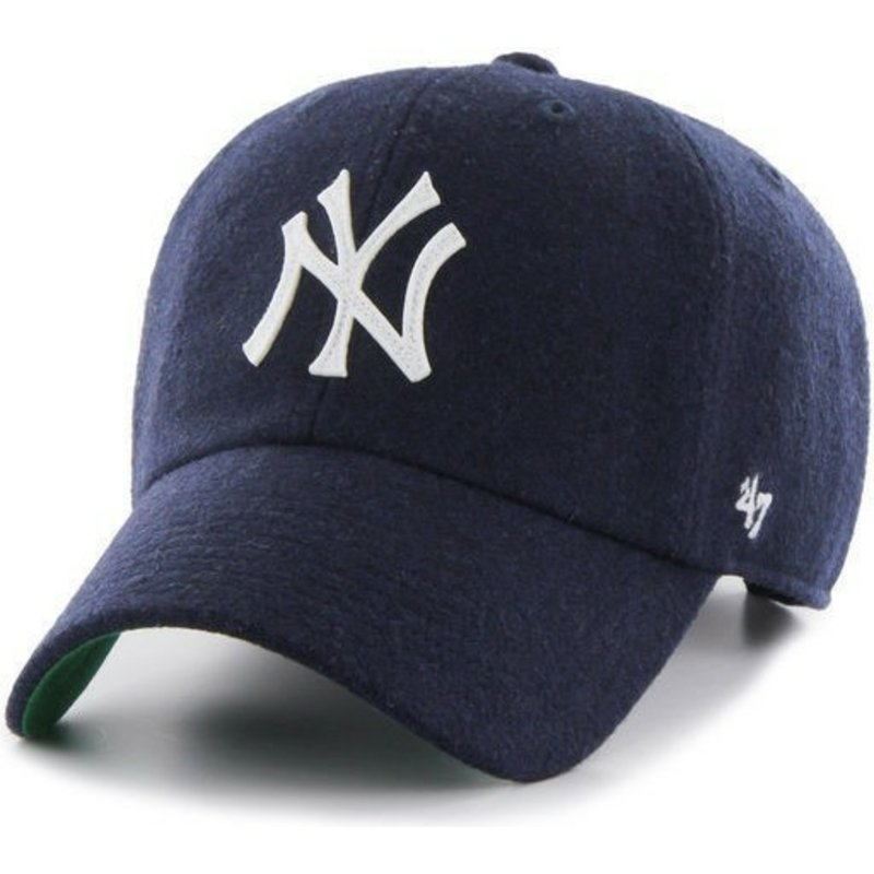 47-brand-curved-brim-mit-lederband-new-york-yankees-mlb-clean-up-cap-marineblau