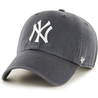 47 Brand Curved Brim New York Yankees MLB Clean Up Cap Dunkelgrau