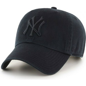 47 Brand Curved Brim Mit Schwarzem Logo New York Yankees MLB Clean Up Cap Dunkelschwarz