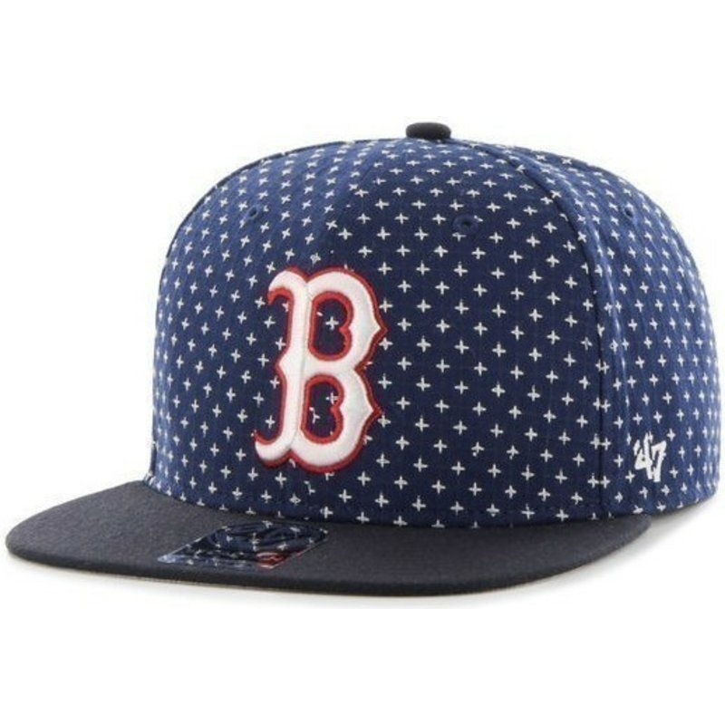 47-brand-flat-brim-cross-print-mlb-boston-red-sox-snapback-cap-marineblau
