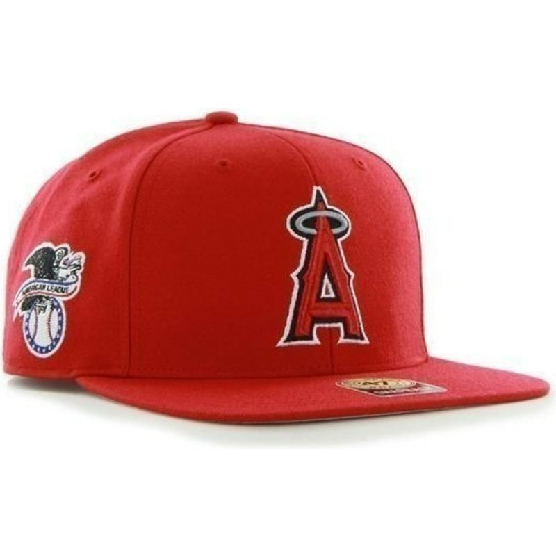 47-brand-flat-brim-seitliches-logo-mlb-los-angeles-angels-of-anaheim-smooth-snapback-cap-rot