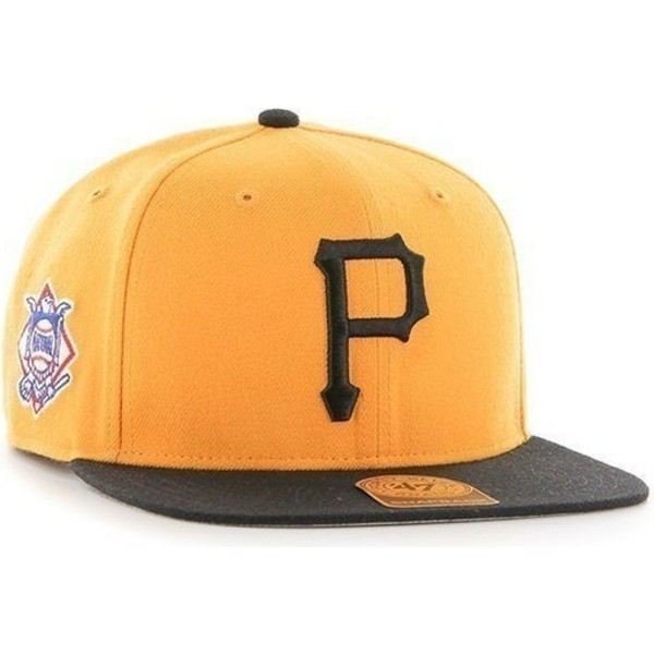 47-brand-flat-brim-seitliches-logo-mlb-pittsburgh-pirates-smooth-snapback-cap-gelb