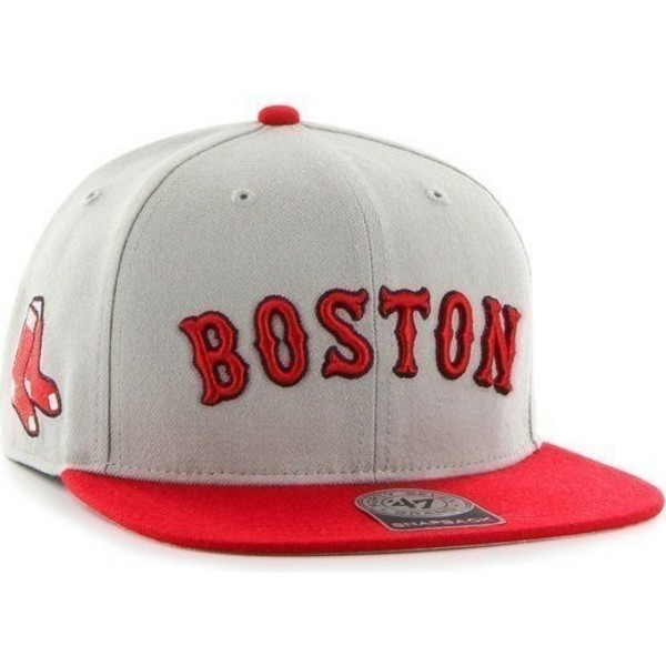 47-brand-flat-brim-seitliches-logo-mlb-boston-red-sox-snapback-cap-grau