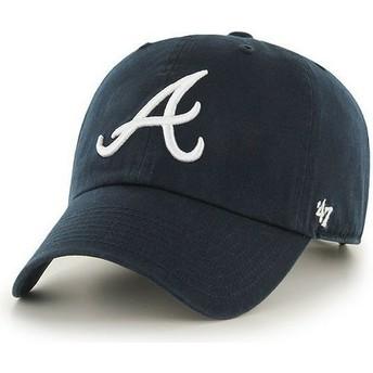 47 Brand Curved Brim Vorderes Logo MLB Atlanta Braves Cap marineblau