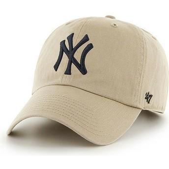 47 Brand Curved Brim Großes Vorderes Logo MLB New York Yankees Cap beige