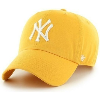 47 Brand Curved Brim Großes Vorderes Logo MLB New York Yankees Cap gelb