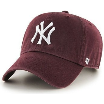 47 Brand Curved Brim New York Yankees MLB Clean Up Cap Granat