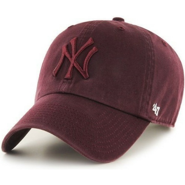 47-brand-curved-brim-mit-granat-logo-new-york-yankees-mlb-clean-up-cap-braun