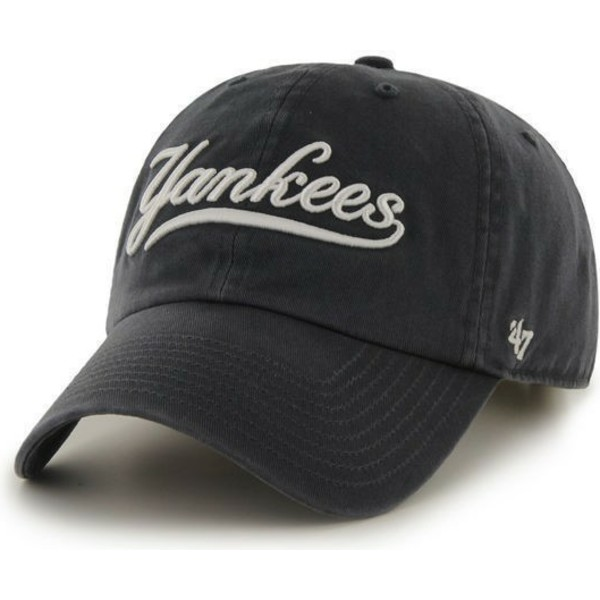 47-brand-curved-brim-script-logo-new-york-yankees-mlb-clean-up-cap-marineblau