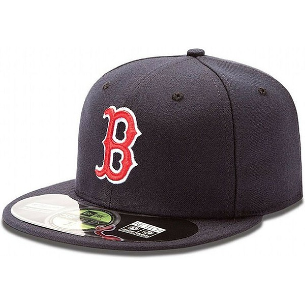 new-era-flat-brim-59fifty-authentic-on-field-boston-red-sox-mlb-fitted-cap-marineblau