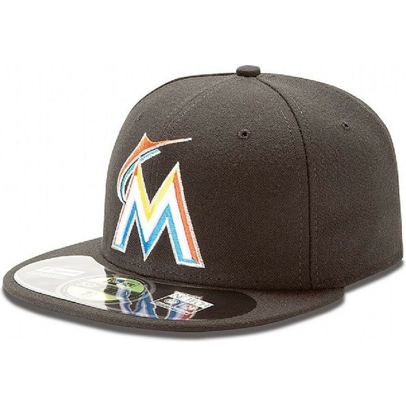 new-era-flat-brim-59fifty-authentic-on-field-miami-marlins-mlb-fitted-cap-schwarz