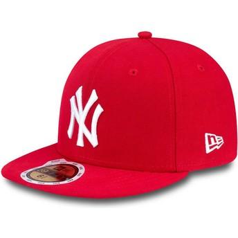 New Era Kinder Flat Brim 59FIFTY Essential New York Yankees MLB Fitted Cap rot